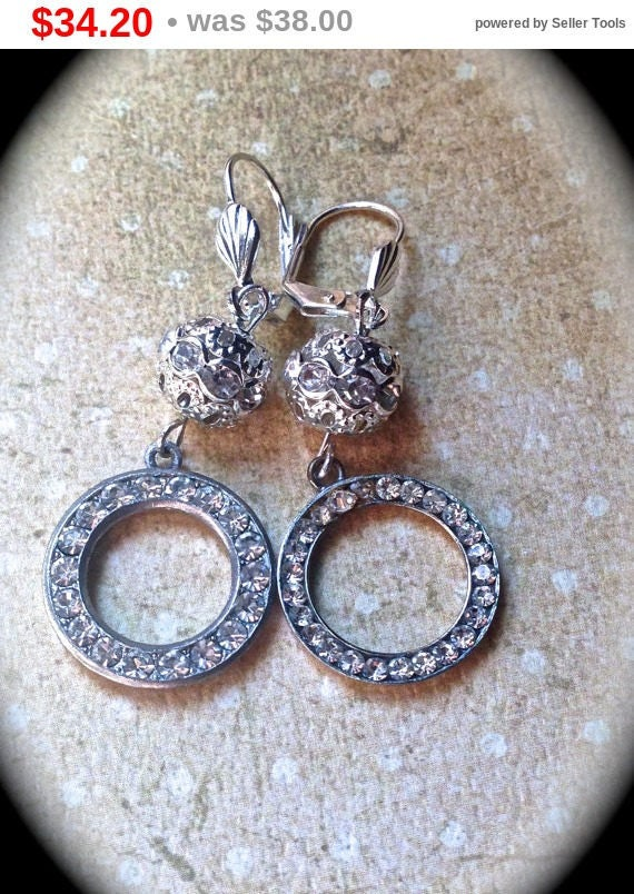 Summer Sale Vintage assemblage dangle wedding earrings- Handmade Jewelry-Vintage Assemblage Earrings- Unique Steampunk Vintage- Dangle Ea...