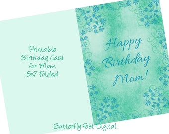 Printable Birthday Card for Mom, Fancy Floral Card, Teal Blue Green, Instant Download