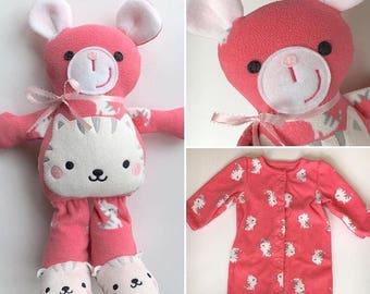 Memory Bear, Baby sleeper bear, Baby bodysuit Bear, Sleeper bear, PJ bear, Pajama Bear, Teddy bear made from baby clothes, keepsake bear