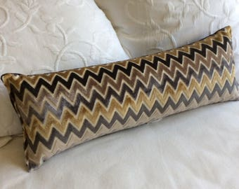 Cut Velvet Chevron 9x25 Bolster/lumbar pillow available in many of our fabrics