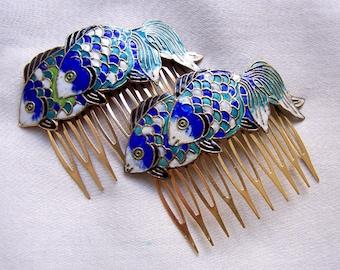Vintage hair combs 2 Chinese cloisonne blue green fish hair accessory hair pin hair barrette hair slide  (A)