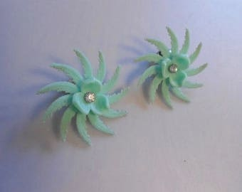 Florida Spinning Wheels - Vintage 1950s Mint Green Soft Plastic Spinning Wheel Clip on Earrings w/Rhinestones