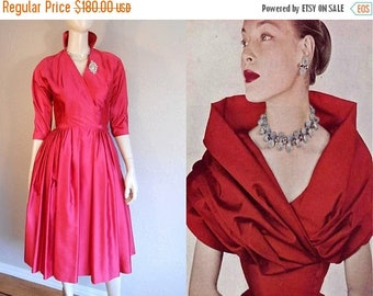 Anniversary Sale 35% Off Valentine's Delight - Vintage 1950s Red Satin Collared Full Skirt Cocktail Evening Dress - XS