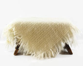 Small Mohair Wool Throw or Shawl, Avoca Handweavers, Made in Ireland, Small Square Wool Blanket, Creamy White Wool Lap Blanket