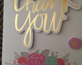 Blank Thank you card with flower accent