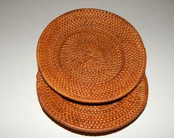 Set of 2 Woven Bamboo Cane Rattan round Coasters