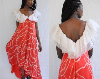 Gorgeous red and white silk floaty maxi dress with white ruffle 1970s 70s VINTAGE