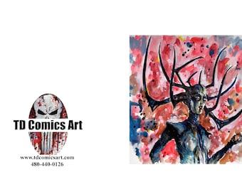 Hela Thor Ragnarok greeting card of original comic art marvel art,comics,super heroes, villains,marvel art,wall art, home decor,comic,movies