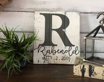 Last name sign, monogram sign, wedding sign, est sign, pallet sign, farmhouse style, rustic lastn name sign, name sign