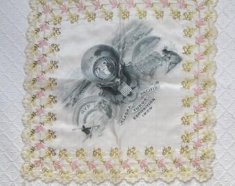 Antique Embroidered and Printed Alaska Yukon Pacific Exposition Souvenir Handkerchief, 1909