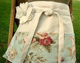 Cottage Chic Soft Blue Green Floral Half Apron - Mist Green Apron - Pink Roses - Vendor - Waitress - Garden Apron