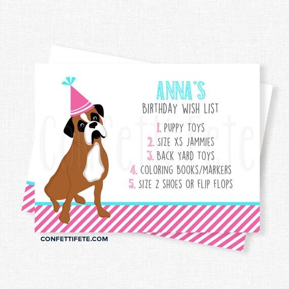 Puppy Dog Birthday Wish List Inserts Birthday Gift List