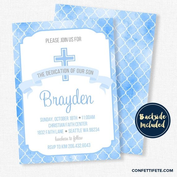 baby dedication invitation boy baptism invitation christening