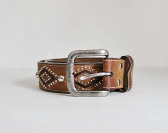 50% half off sale // Vintage 90s Nocona Studded Cowboy Western Brown Leather Belt - Size 36 or 38