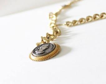 50% half off sale // Vintage 80s Omega Roman Coins Gold Tone Belt - Women M L