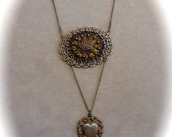 Clearance Sale Vintage Ornate Layered Filigrees  Assemblage Pendant Necklace with Vintage Chain and Heart