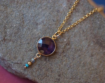 Bezel Set Amethyst and Turquoise Necklace