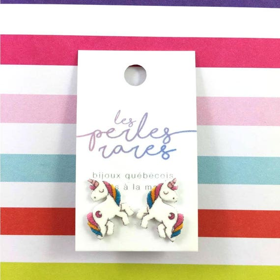 unicorn, stud earring, fairy tail, print on plastic, shrink plastic earring, stainless stud, handmade, les perles rares