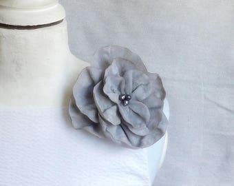 Flower Brooch/Clip Combo in Pale Grey Velvet