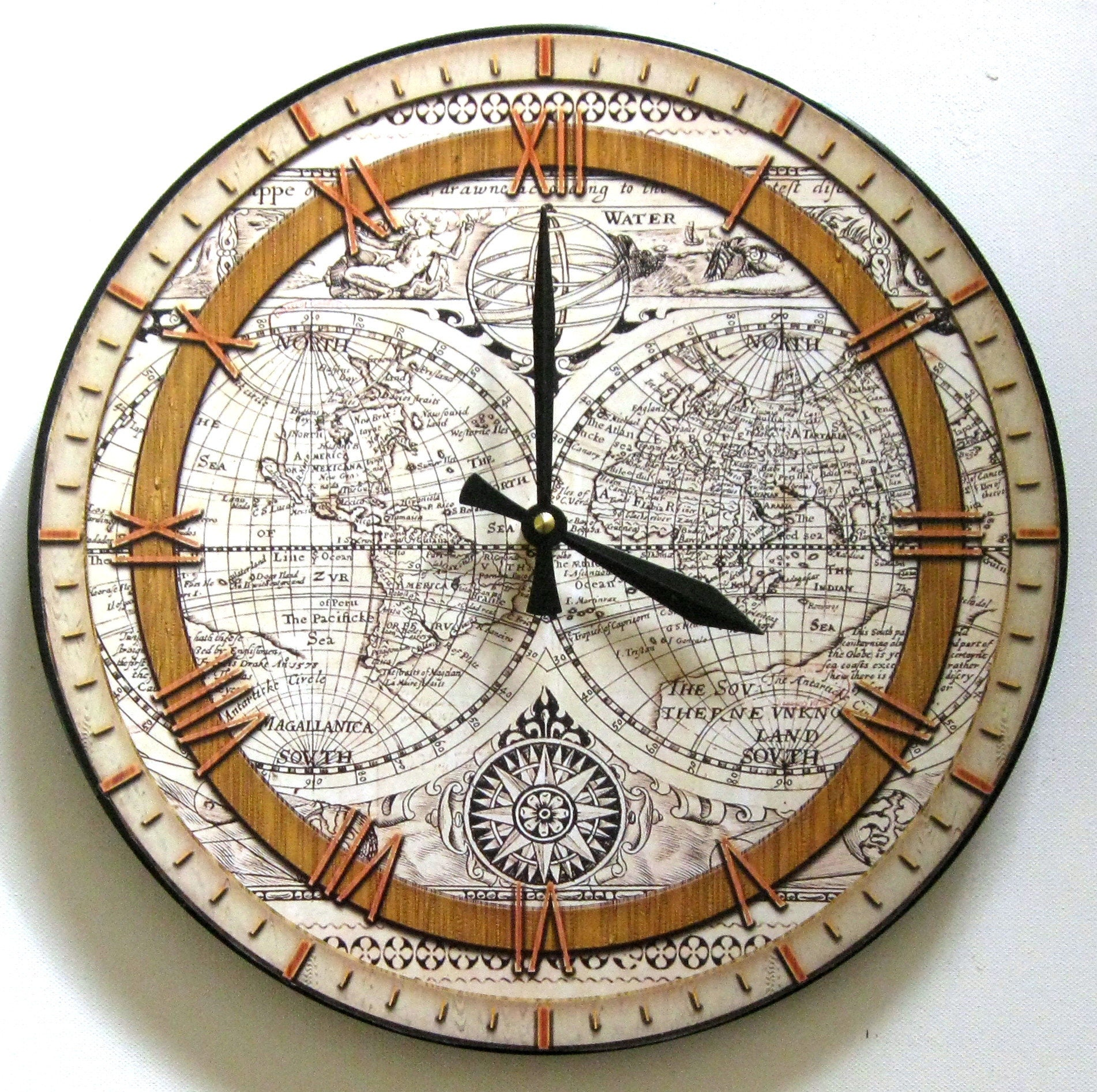 Buy World Map Clock. Map clock  Ancient world map World Vinyl Wall