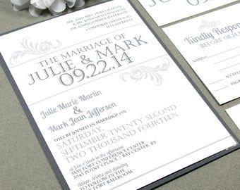 Vintage Wedding Invitations, Simple Wedding Invitation Suite, Typography Wedding Invites, Gray and White Wedding Pocket Suite, Printable DIY
