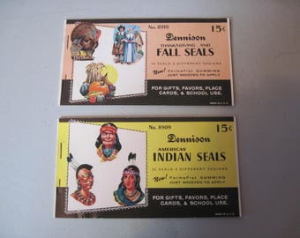 Two Vintage Dennison Fall and Indian seals sticker books