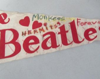 Vintage felt Pennant I love the Beatles