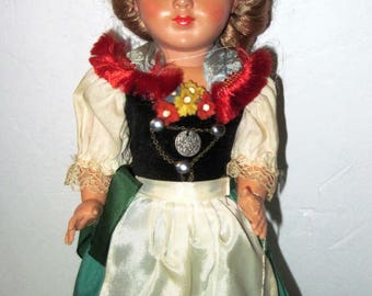 Vintage Gura Black Forest Girl Doll Bavarian German