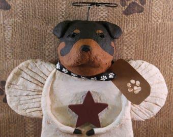 Rottweiler Angel,OOAK, handmade from papier mache,ROTTWEILER ANGEL