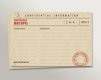 Top Secret, Confidential Recipe • Recipe Cards • Set of 20