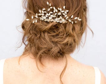 "Beaded Hair Comb, Rhinestone Hair Accessories, Bridal Accessories - ""Verena"" Rhinestone Vine Bridal Hair Comb  in Silver or Gold"