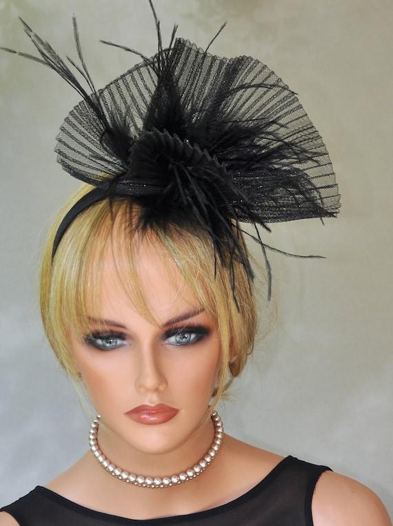 Black Fascinator, Black Hat, Black headpiece, Derby hat, Formal hat, Dressy hat, Cocktail Hat, Melbourne Cup Hat, Funeral Hat, Ascot Hat
