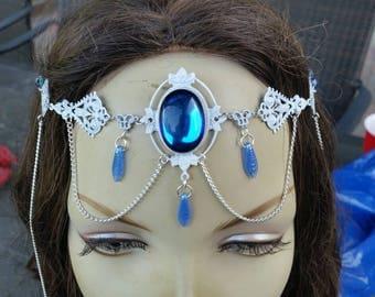 Shimmering Sapphire Circlet of the Mermaid Priestess celtic elven bridal cosplay priestess goddess