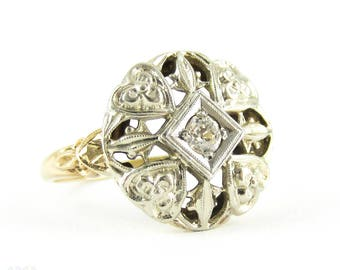 Vintage Filigree Diamond Ring, Old Mine Cut Diamond Set in Flower & Heart Pierced Ring. Two Tone 10K White and Yellow Gold, Circa 1940s.