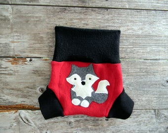 Upcycled Merino Wool Soaker Cover Diaper Cover With Added Doubler Black/ Red With Wolf Applique SMALL 3-6M