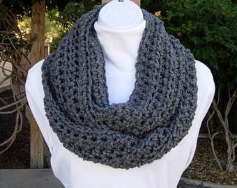 Solid Gray INFINITY SCARF Loop Cowl, Women's Men's Charcoal Grey Extra Soft Crochet Knit Warm Winter Lightweight..Ready to Ship in 2 Days