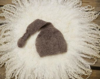 Toffee Brown Newborn Mohair Pixie Baby Knot Hat Photography Prop