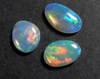 VIDEO: Jewellers Pack - 3 x Solid crystal Ethiopian Opal Free Form Cabochons - 7.4 - 9.4mm - Natural - Opal  - Supplies - RT46