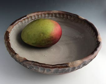 Wood Fired Serving Bowl, Wheel Thrown Stoneware Bowl, Shino Glaze, Farm House Style, Coiled Rim, Salad Bowl.