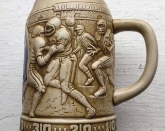 Vintage Detroit Lions Beer Mug Relief Sculpted Football Team Blue Silve Logo Brazil