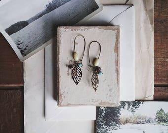 Beaded Leaf Earrings, Long Boho Dangle Earrings, Filigree Leaf and Vintage Bead Earrings for Women