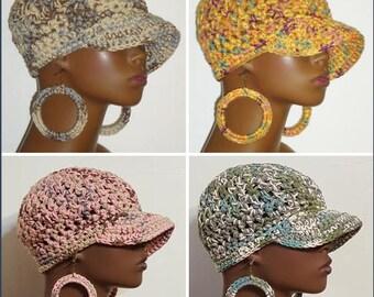 100% Cotton Chunky Crochet Baseball Cap with Hoop Earrings by Razonda Lee Razondalee Black Charcoal White