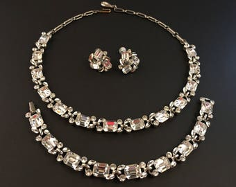 Lisner Rhinestone Jewelry Set, Vintage Jewelry, Lisner Necklace, Rhinestone Choker Bracelet Earrings, Lisner Necklace, Bridal Jewelry Set