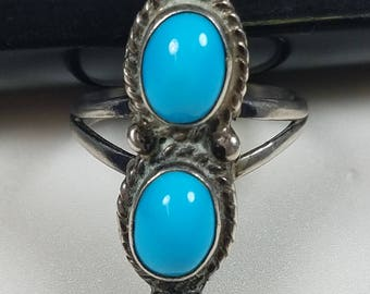 Vintage Native American Sterling Silver and Turquoise Ring Size 6.25