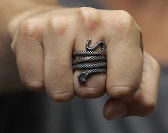 Rustic Silver Snake Ring 925 Sterling Jewelry Uncut Black Diamonds Mens Jewelry