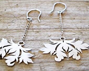 Dangle Earrings, Chandelier Earrings, Victorian Damask Drop silver earrings, Sterling Silver Damask earrings, Recycled silver Earrings