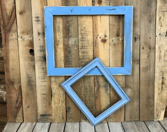 ON SALE - Aqua Picture Frame Set of 2 , Rustic Set, 8x10, 12x16, Photo Frame, Gallery Frame Set, Lot 239