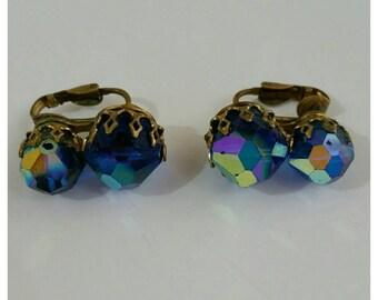 Crystal Clip On Earrings, Blue Iridescent Beads, 1960s earrings