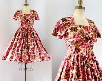 Vintage 1950's Rose Print Dress
