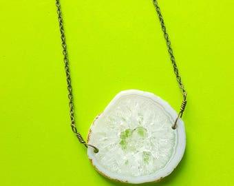 Agate slice necklace- large druzy pendant necklace-crystal statement necklace